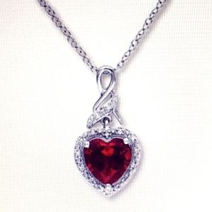 Ruby Necklace 1/20 ct tw Diamonds Sterling Silver